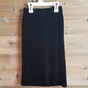 Girls Black Velvet Long Skirt